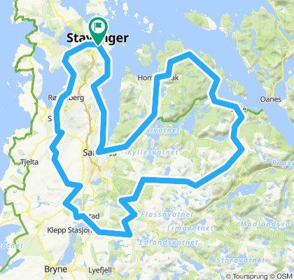 Stavanger - Sola - Kverneland - Ålgard -Søredalen- Høle -Hommersåk - Sandnes - Stavanger