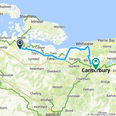Sittingbourne Canterbury ncn1 39km