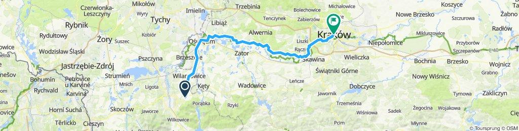 Trasa wyprwy rowerowej do Krakowa 02.05.2019