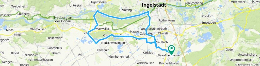 Über Weicheringer Weier und Kochheim zum Schloß Grünau über linke Donauseite zum Baggersee