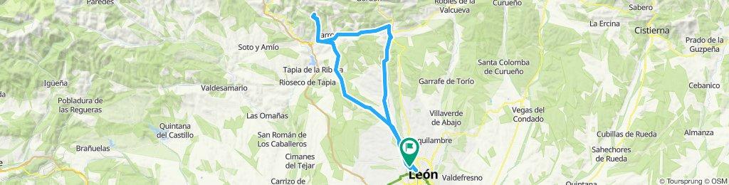 80 km  León Lorenzana Otero piedrasecha Otero Olleros La Robla Lorenzana León