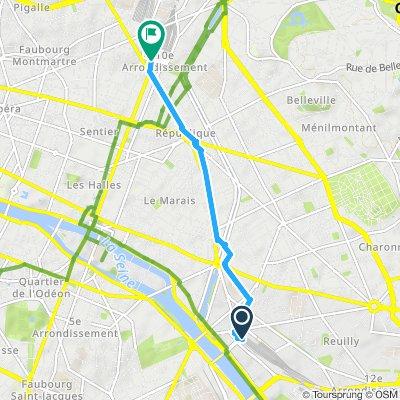 Gare de Lyon to Gare du Nord - Paris | Bikemap - Your bike ... Gare De Lyon Map on arc de triomphe map, wenceslas square map, argentina map, the london underground map, vincennes map, champ de mars map, paris map, lyon france metro map, lyon train station map, europe map, ville de lyon map,