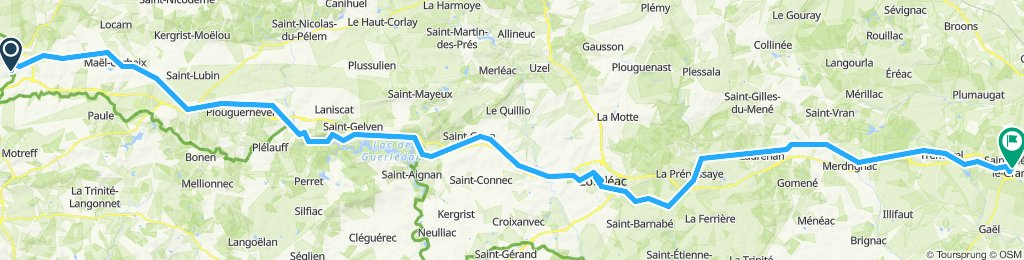 Cycle Route 6 in Brittany : Carhaix - St-Méen-le-Grand