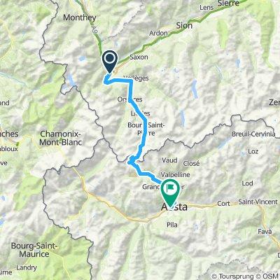 Etappe 1 Martigny - Aosta