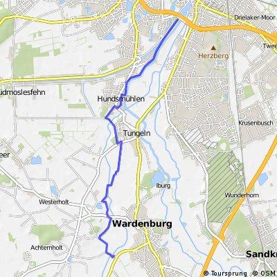 Schöne Aussichten Oldenburg bis Wassermühle Wardenburg