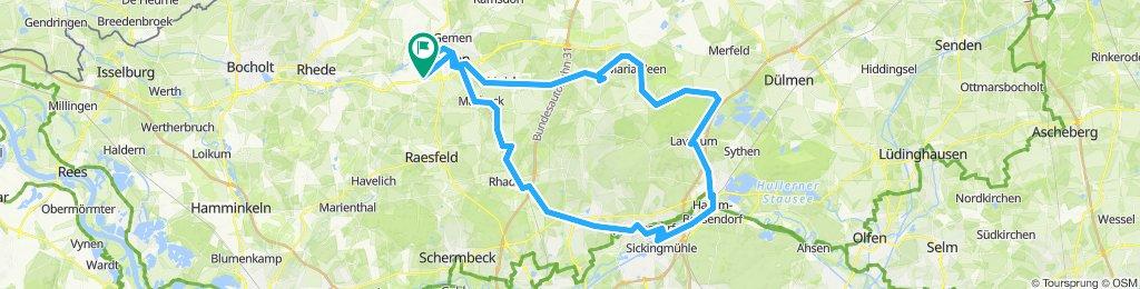 Borken Hovesath - Borken BHF - bis Maria Veen (Fietzenbus) - Haltern - Rhade - Borken Hovesath