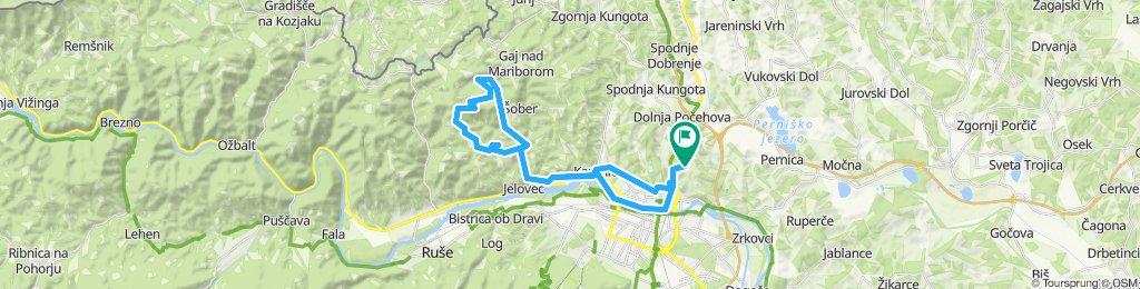 Košaški dol - Kamnica - Bresternica - Srednje - Žavcar (koča) - Srednje - Bresternica - Lent - Košaki