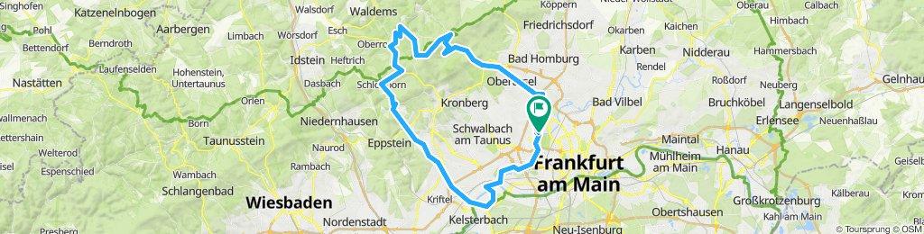 Um und über den Feldberg, Start in Praunheim