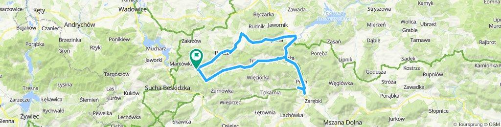 Budzów-Stworz-Pcim-Lubień-Krzczonów-Myślenice-Sułkowice-Budzów