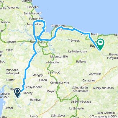 trelly to bayeaux bikemap