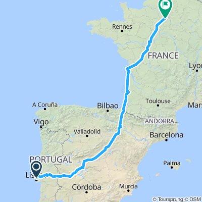 Lisbon to Paris - Thru Madrid