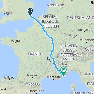 Canterbury - Epernay - Macon - Grenoble - Nice
