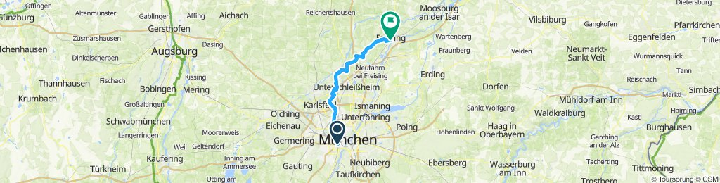 Westpark—Ruderregatta-Strecke—Offershausen—Massenhausen—Freising