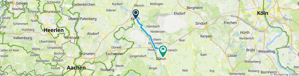 Route von Jülich bis nach Düren