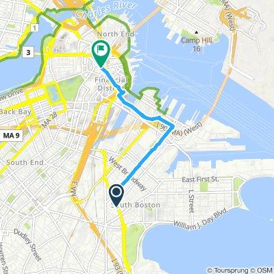 Snail-like route in Boston