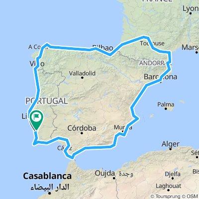 Iberian Peninsula including western France