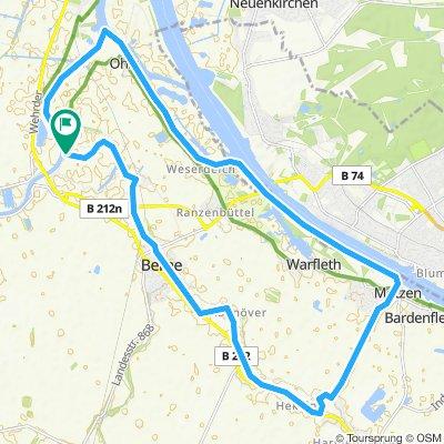 Kajak : 24 km alter Huntearm Berne....
