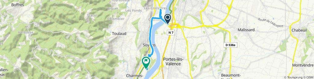 Gerade Fahrt in Charmes-sur-Rhône