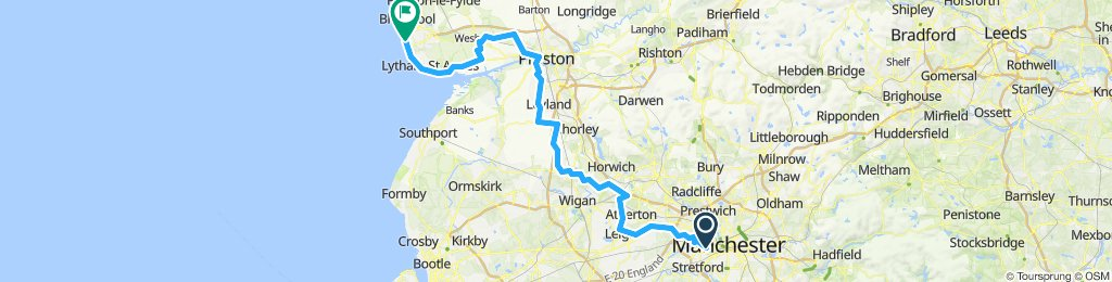 Manchester to Blackpool Cycle Route 2019