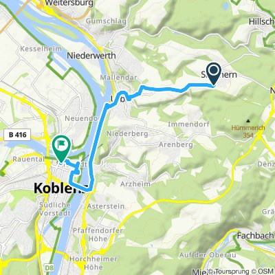 Moderate route in Koblenz