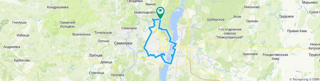 Snail-like route in Voronezh