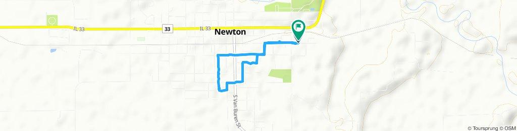 Snail-like route in Newton