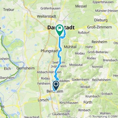 von Bensheim nach Darmstadt