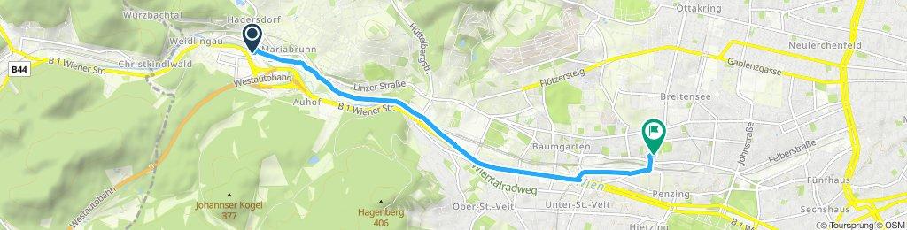 Moderate Route entlang Wienfluss stadteinwärts
