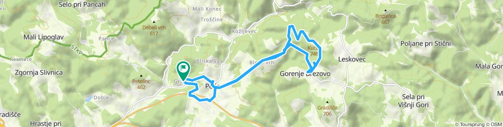 Snail-like route in Grosuplje