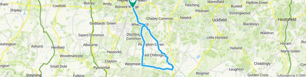 Snail-like route in Haywards Heath