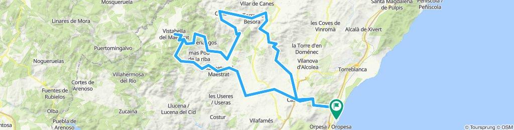 Marina D'ord - Cabanes - Vall D'Alba -Atzaneta - Xodos - Vistabella - Benafigos - Culla - La torre Besora - Sierra - Benlloch - Marina D'ord