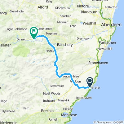 Inverbervie to Aboyne via Cairn