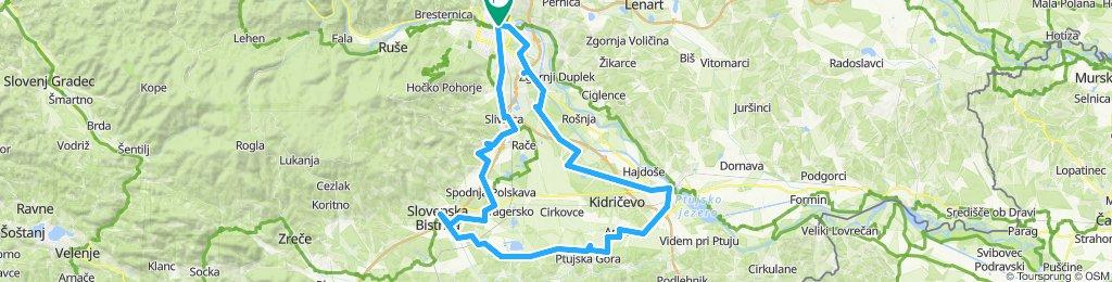 Maribor - Bistrica - Sestrže - Draženci - Ptuj - Maribor via Miklavž