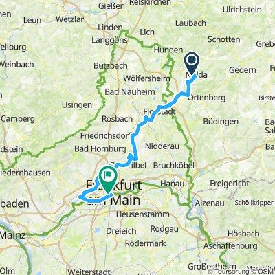 Niddaradweg von Nidda zur Mündung in Höchst und weiter zum Hbf Frankfurt (Main)