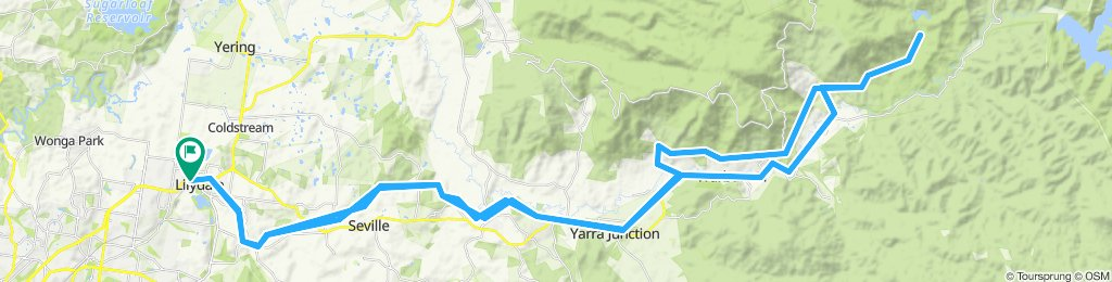 e-MTB Adventure Ride. Lilydale-Warburton-O'Shannassy Weir and Aqueduct-Lilydale.
