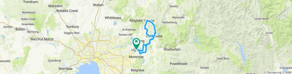 e-MTB Adventure Ride. Lilydale, Healesville, Toolangi, Healesville, Lilydale.