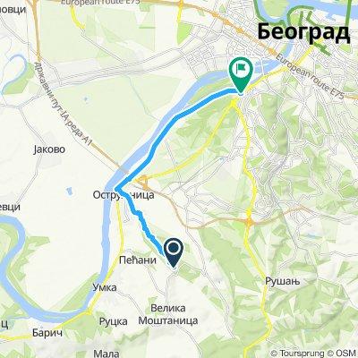 Snail-like route in Belgrade