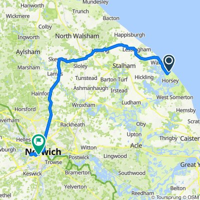 Waxham Sands to Rose Tavern with detour to George Borrow Road
