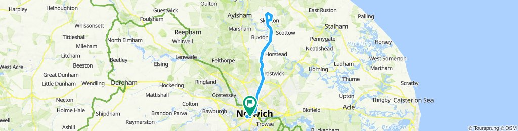 Rose Tavern Norwich to Skeyton and return