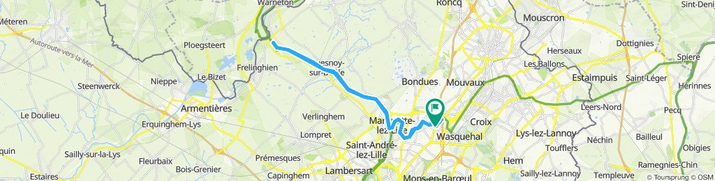 Snail-like route in Marcq-en-Baroeul