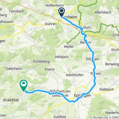 Sinsheim nach Menzingen über Eppingen