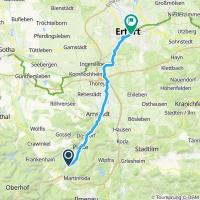 Ilmenau nach Erfurt