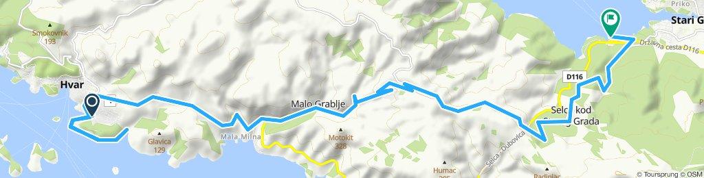 Snail-like route in Stari Grad