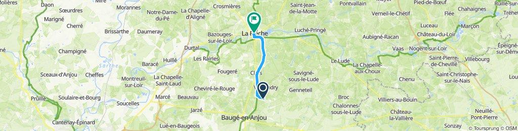 Snail-like route in La Flèche