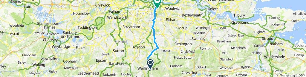 Biggin Hill to North Greenwich Foot Tunnel