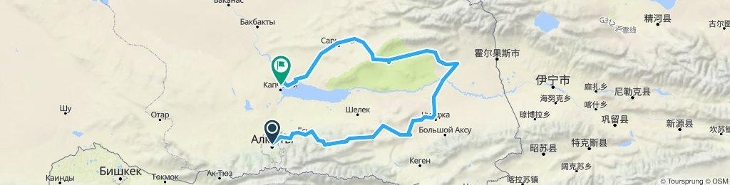 Kasachstan tatsächlich gefahrene Route