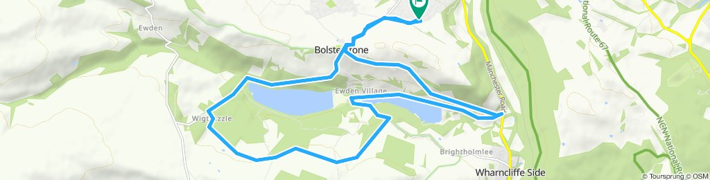 From home, round Morehall, past Dwarriden and back through Bolsterstone up the steep hill.