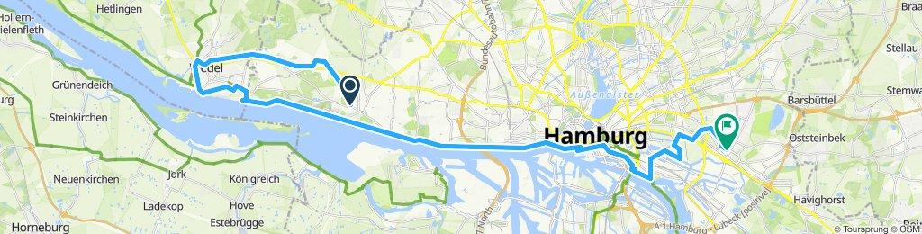 von Blankenese nach Wedel und die Elbe entlang durch den Hamburger Hafen nach Billstedt