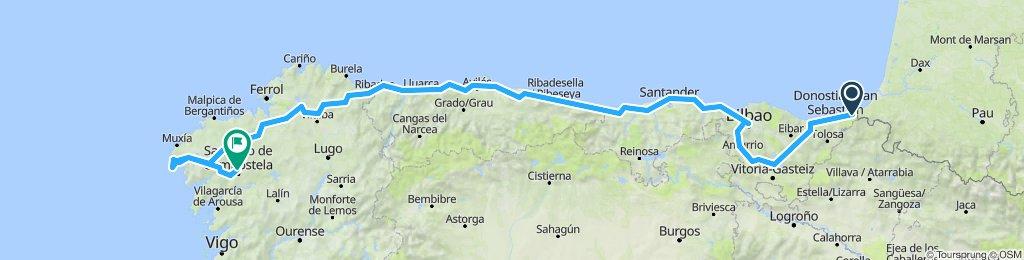 Irun to Santiago de Compostela Spain.
