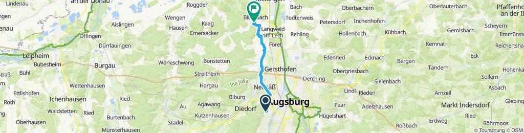 Gerade Fahrt in Biberbach